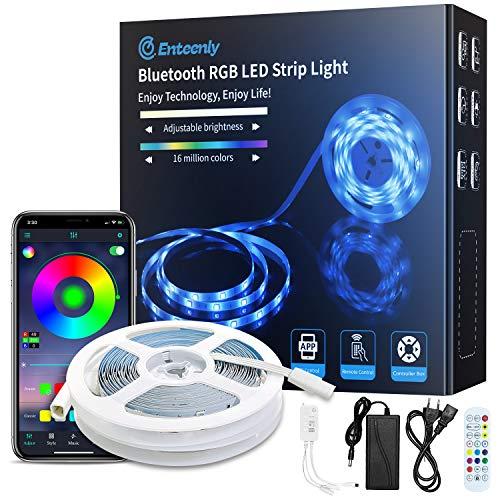 Luces LED, 10m Bluetooth Music Sync RGB Tiras Led de Iluminación que Cambia de Color con Aplicación y Control Remoto, 5050 LED y Fácil Instalación, Luces Led Habitacion Para el Hogar, TV, Cocina