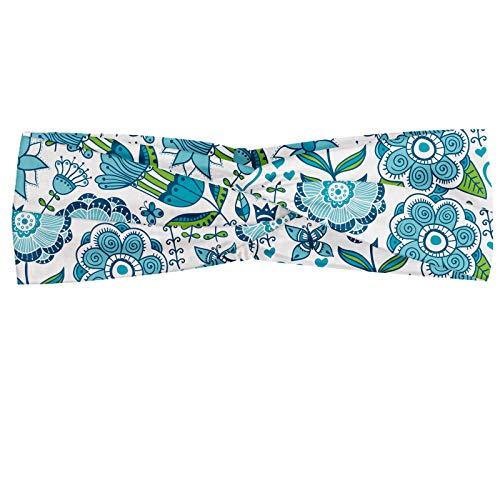 ABAKUHAUS Bleu et vert Bandeau, Illustration doodle de la nature Papillons et fleurs Libellules, Serre-tête Féminin Élastique et Doux pour Sport et pour Usage Quotidien, Vert pomme Blanc