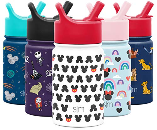 Simple Modern 10oz Disney Summit Kids Water Bottle Thermos with Straw Lid - Dishwasher Safe Vacuum Insulated Double Wall Tumbler Travel Cup 18/8 Stainless Steel - Disney: Mickey Ears