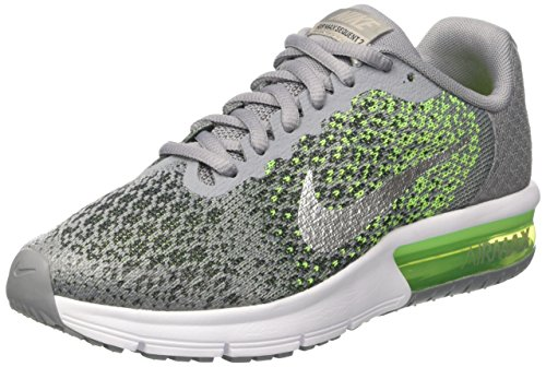 NIKE Boys' Air Max Sequent 2 Running Shoe (GS), Stealth/Metallic Silver/Electric Green, 6 M US Big Kid