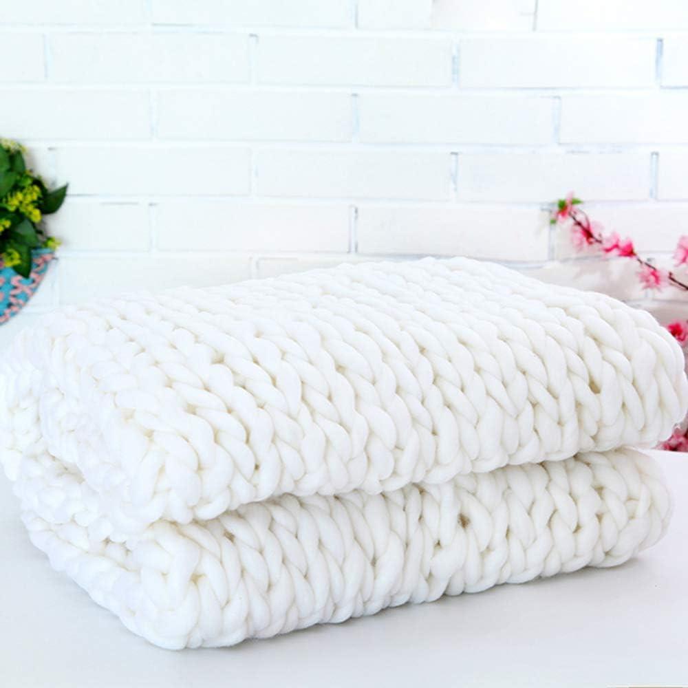 SANJIANG Chunky Couverture De La Laine Tricoter, À La Main Épaisse Couverture À Tricoter, Douce Et Chaude, pour Sofa, Natte De Couchage,White Design1
