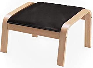 The PU Leather Poang Footstool Cover Replacement Is Custom Made for Ikea Poang Chair's Ottoman Slipcover. (PU Leather Black)