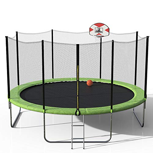 LYHNMW14-Feet Round Trampoline with Safety Enclosure, Basketball Hoop and Ladder Backyard (Green)