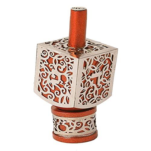 Yair Emanuel Decorative Dreidel with Stand   Pomegranates Cutout Design   Hanukkah Gift Jewish Decorations (Orange, Medium)