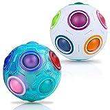 JQGO Magic Rainbow Ball 3D Puzzle Cube, 2 Pack Rainbow Speed Puzzle Cube Juguete Educativo para niños Puzzle Ball Stress Relief para Adolescentes Adultos, Blanco + Azul
