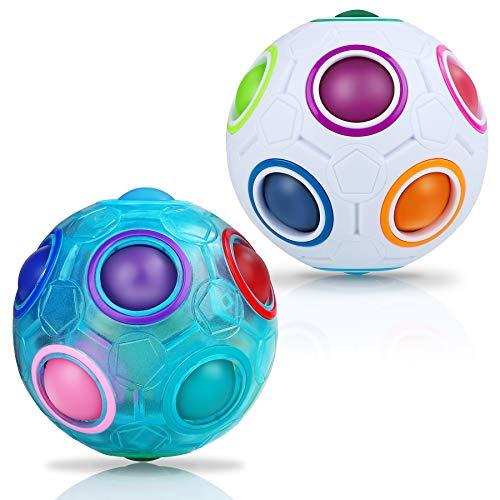JQGO 2 Stück Magic Ball Regenbogen Ball Zauberwürfel 3D Puzzle Ball Speed Cube Würfel Regenbogenball Toy Pädagogische Spielzeug (Blau & Weiß)