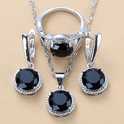 LKHJ Conjuntos de Joyas de Boda de Plata 925 Pendientes Colgantes de circonita Negra y Anillo de Collar Conjunto de 3 Piezas Traje de Moda para Mujer-Negro_7