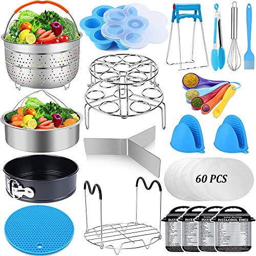 Pressure Cooker Accessories Set Compatible with Instant Pot Accessories 6 qt 8 Quart - Steamer Basket, Springform Pan, Stackable Egg Steamer Rack, Egg Bites Mold, Kitchen Tongs & More