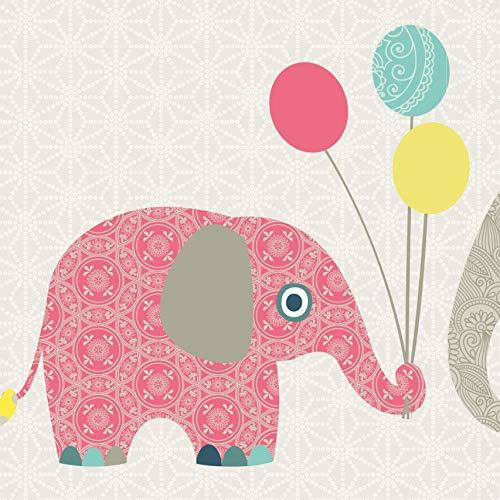 anna wand Bordüre selbstklebend FAMILY ELEPHANT - Wandbordüre Kinderzimmer/Babyzimmer mit Elefanten - Wandtattoo Schlafzimmer Mädchen & Junge, Wanddeko Baby/Kinder