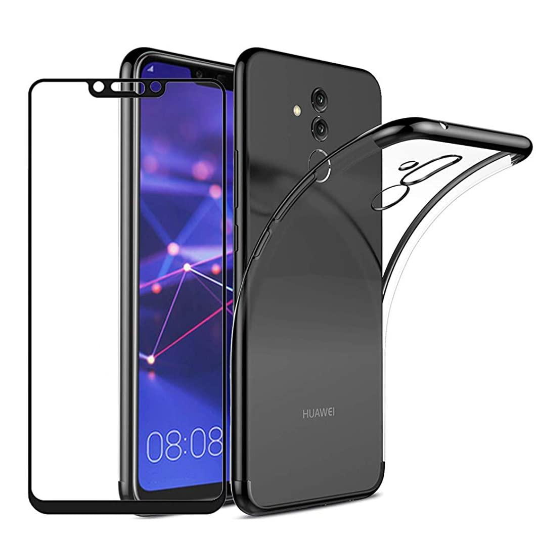 BT-Share for Huawei Mate 20 Lite Case, Premium Ultra-Thin Clear Back Slim-Fit Gel Soft TPU Skin Anti-Scratch Cover & Tempered Glass Screen Protector, Black