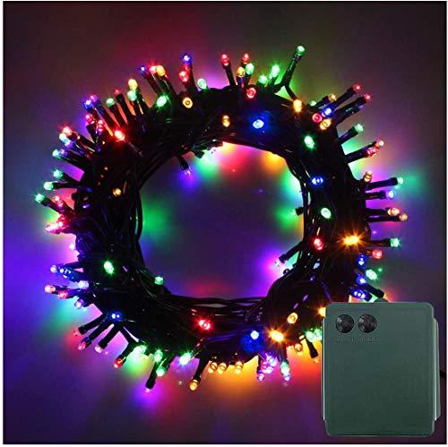 RPGT – Stringa di luci di Natale su cavo trasparente alimentata a batteria, ideale per interni/esterni, alberi di Natale, decorazioni di Natale, festa in giardino, matrimonio, eventi