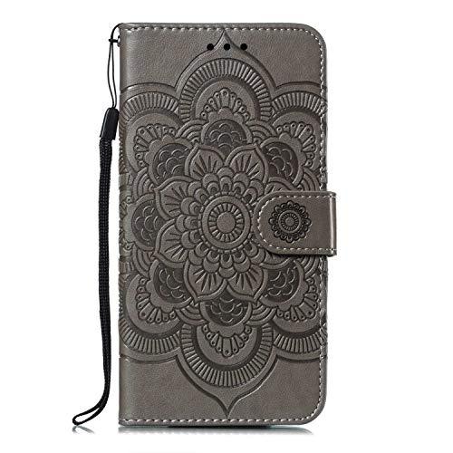 GIMTON Stoßfest Hülle für Galaxy A10 / Galaxy M10, Brieftasche Klapphülle mit Geldfach und Kartenfach, Premium Magnetischen PU Leder für Samsung Galaxy A10 / Galaxy M10, Grau