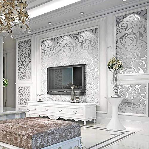 Cikonielf Moderne minimalistische Vliestapete 3D Barock Muster Tapete Rolle für Wohnzimmer Schlafzimmer 10m Silber