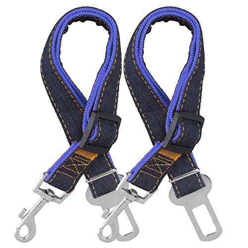STARUBY Hunde Sicherheitsgurt, 2er-Pack, verstellbares Hundegeschirr, Sicherheitsleine, Katzen-Autoleine, Reiseleine,17-26 Zoll Länge, verstellbar Sicherheitsgurt für Hunde (Blau)