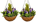 Selections Set of 2 Artificial Lavender and Eucalyptus Topiary Hanging Baskets