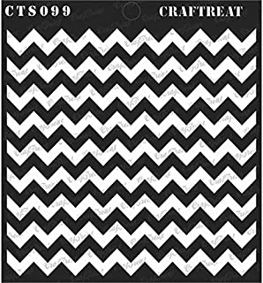 CrafTreat Stencil - Chevron - Reusable Painting Template for Journal, Notebook, Home Decor, Crafting, DIY Albums, Scrapbook and Printing on Paper, Floor, Wall, Tile, Fabric, Wood 12x12 inches