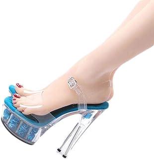 Ladies OpenToe Platform Sandals,Summer Transparent Rose Sandals,15Cm Crystal Super High Heel Sandals,Buckle Stilettos,Blue,36 EU