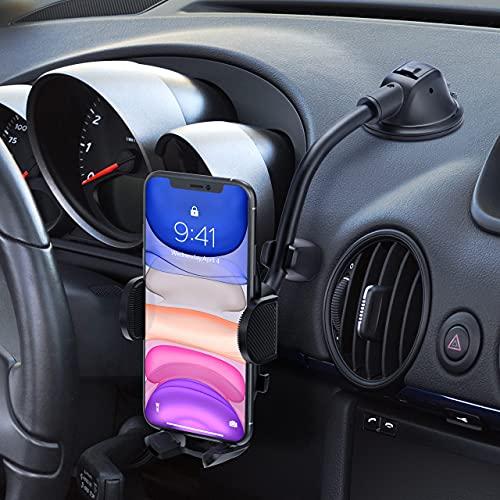 iSeneo Soporte Móvil Coche para Salpicadero con Ventosa Fuerte, Car Phone Holder con Cuello de Cisne Largo y Flexible, Sujeta Móvil Coche aplicar para iPhone 12 Pro Max/11/XS/XR, Galaxy Note 20 y Más