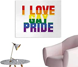 Pride The Office Poster I Love Gay Pride Retro Style Geometric with Vibrant Colored Typography Valentines Poster Wall Decor Multicolor W48 xL32