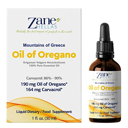 Zane Hellas 100% onverdunde oregano-olie. Griekse etherische olie van oregano. 86% min. Carvacrol. 164 mg Carvacrol per portie. Waarschijnlijk de beste oregano-olie ter wereld. 1 fl. oz. - 30 ml.