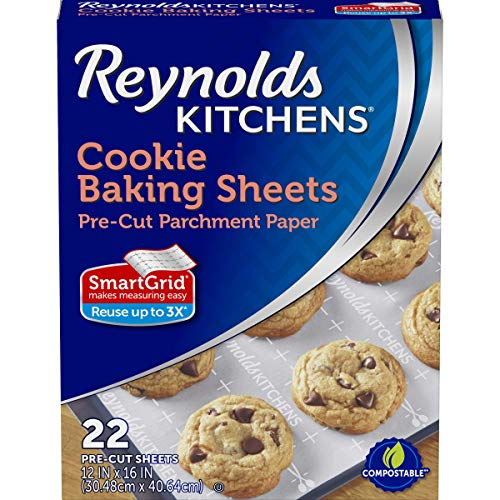 Kitchens Cookie Baking Sheets, Pre-Cut Parchment Paper, 22 Sheets (Pack of 2), New