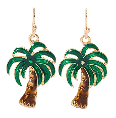 Palm Tree Tropical Dangle Earrings (Gold Tone)