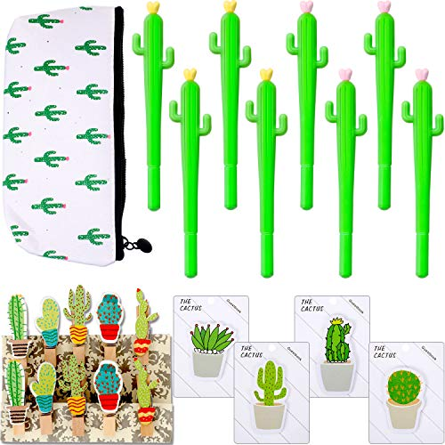 33 Pieces Cactus Creative Stationery Set Cactus Shaped Rollerball Pen Cactus Notes Sticker Cactus Pencil Bag and Cactus Clip for Office Supplies
