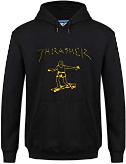Thrasher Flame Logo sudadera corta con capucha negra