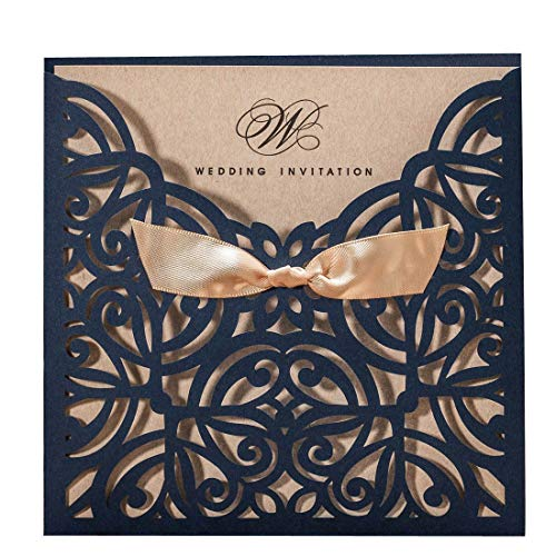 50PCS Wedding Invitations Jofanza Wedding Invitations Cards Laser Cut Navy Blue Square Invitation with Bow Lace Sleeve for Engagement Baby Bridal Shower Birthday Quinceanera (CW6179B)