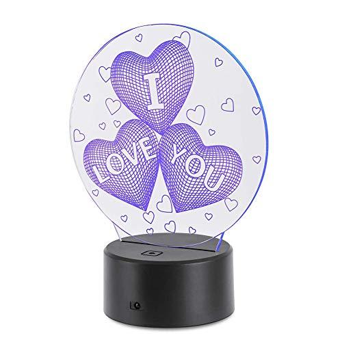 Lámpara mesa en forma corazón 3D luz nocturna 7 colores luces nocturnas interruptor táctil LED lámpara visual con control remoto USB Powered Decoración Iluminación para cumpleaños Día la Madre Regalo