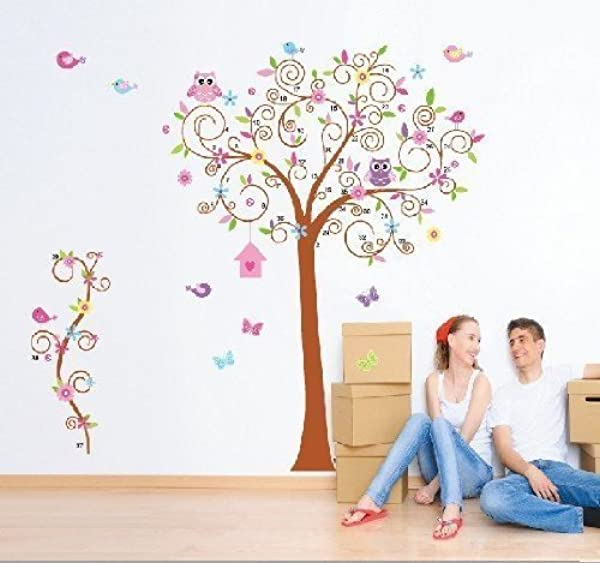 BestGrew Super Large 70 8 X66 9 Colorful Owl Big Bending Tree Wall Stickers Removable Wall Decal Sticker Super For Girls And Boys Nursery Baby Room Children S Bedroom