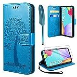 AROYI Kompatibel mit Samsung Galaxy A52 4G/5G A52s Hülle mit Schutzfolie, PU Leder Flip Wallet Schutzhülle für Samsung Galaxy A52 5G / 4G Tasche, Blau