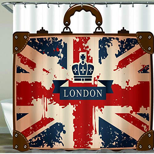 NISENASU Shower Curtain,Vintage Travel Suitcase with British Flag London Ribbon and Crown Image,Waterproof Bath Curtains Polyester Decorative Shower Curtains Art Deco with 12 Hooks 180x180cm