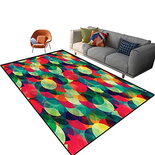 Indoor Room Contemporary Area Rugs,3'x 5',Grunge Geometrical Floor Rectangle Rug with Non Slip Backing for Entryway Living Room Bedroom Kids Nursery Sofa Home Decor
