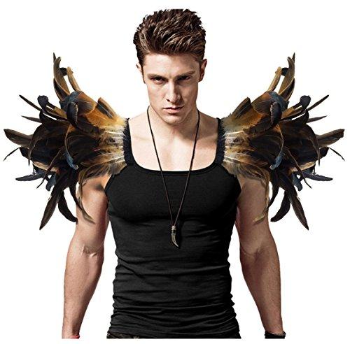 L'VOW Alas de ángel para hombre, color marrón, plumas góticas, con solapa, para carnaval, un par (marrón)