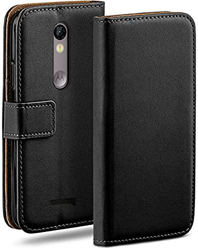 moex Klapphülle kompatibel mit Motorola Moto X Force Hülle klappbar, Handyhülle mit Kartenfach, 360 Grad Flip Hülle, Vegan Leder Handytasche, Schwarz