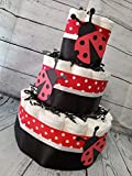 3 Tier Diaper Cake - Lady Bug Red and Black Theme Baby Shower