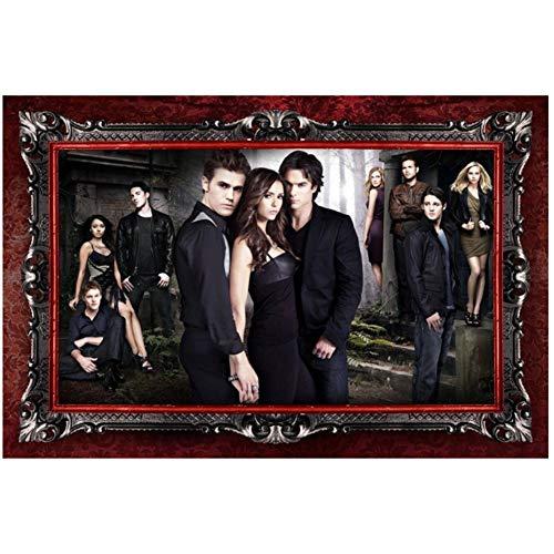 Sanwooden Die Vampire Diaries TV-Show Kunstplakat für Wohnzimmer Wohnkultur Geschenk Kunstwerk Dekoration Druck auf Leinwand -60x90cm ohne Rahmen