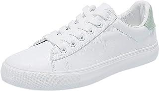 2019 Zapatillas De Deporte Para Mujer, Zapato Plano De PU De Color Solido Con Plataforma Punta Redonda Calzado De Cordones...