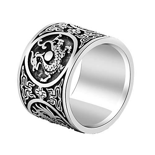 Epinki 925 Sterling Silber Herren Ringe Retro Tier Antiallergen Herrenringe Silberring Silber Schwarz Gr.65 (20.7)