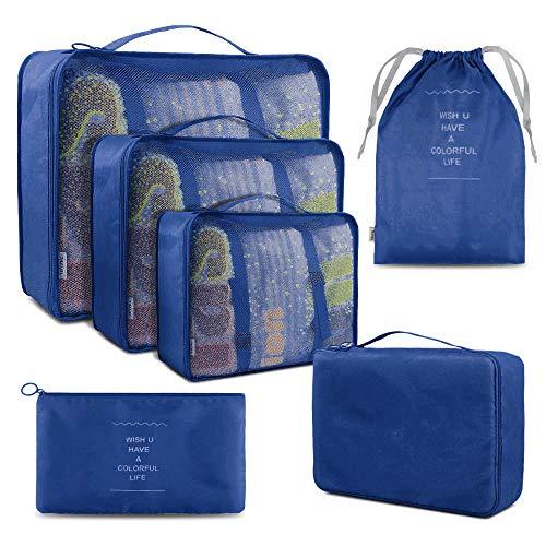 BROTOU - Organizador de Maletas para Ropa, Zapatos, Ropa Interior, cosméticos, Libros, Dulces y Otros Accesorios (6 Unidades) Azul Azul Oscuro
