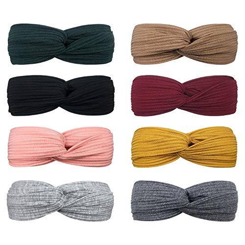 DRESHOW 8 Pack Make Up Headbands for Women Knit Vintage Cross Elastic Head Wrap Hair Accessories