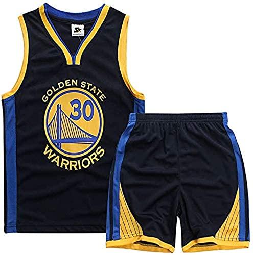xzl Jerseys de Baloncesto de los niños y Las niñas, Stephen Curry # 30 Niños Baloncesto Jersey, Top, Pantalones Cortos de Verano, Golden State Warriors NBA Jersey, Black - M