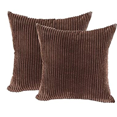 sykting Accent Pillowcases Striped Textured Velvet Corduroy Toss Pillow Covers for Couch Decorative 18 x 18 Square Set of 2 Brown