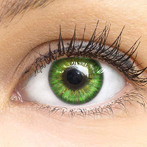 Grüne Farbige Kontaktlinsen Fresh Mint Grün Sehr Stark Deckende SILIKON COMFORT NEUHEIT von GLAMLENS + Behälter - 1 Paar (2 Stück) - DIA 14.50 - ohne Stärke 0.00 Dioptrien