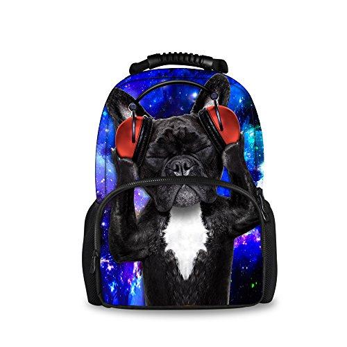 Injersdesigns Casual Mochila Mujer Hombre Viajes Mochila Laptop School Bolsas para Adolescentes DJ Perro Gato Alumnos Bookbags para Niñas Niños (C4332A)