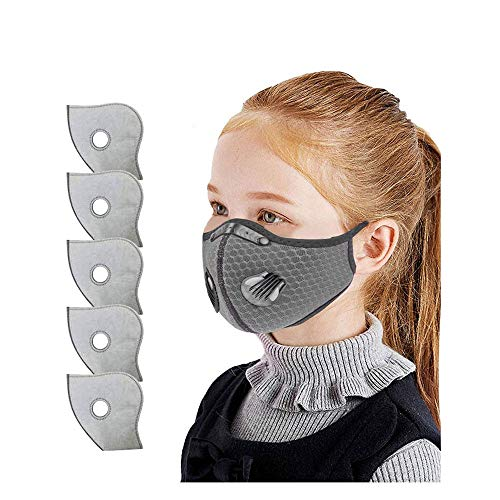 Children Washable Reusable Face_Mask with Valve Filters, Outdoor Sport Safety_Mask, Face Bandanas for Kids