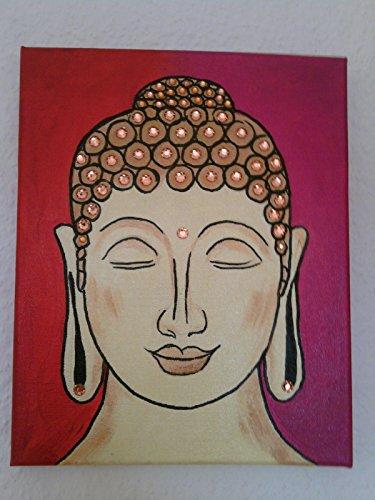 Buddha-Bild, rot-magenta, mit Glitzersteinen, Meditationsbild