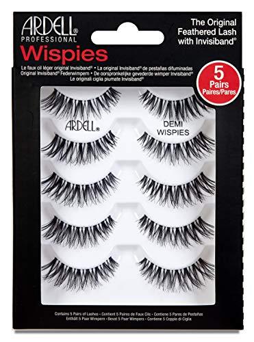 Ardell Professional Demi Wispies Echthaarwimpern, Lashes für den natürlichen Look (ohne Wimpernkleber), handgefertigt & ultradünn, wiederverwendbare schwarze Wimpern,(1 x 5 Paar)