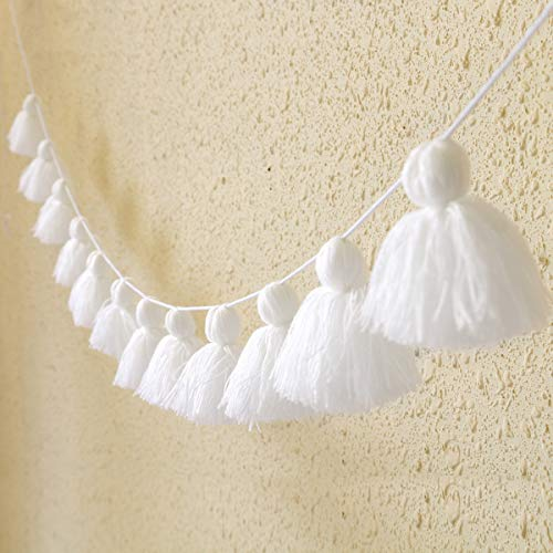Big Size Tassel Garland H3.2in 12 pcs Polyester Yarn Pom Pom Tassel Banner Decorative Wall Hanging for Home Decoration Wedding Birthday Baby Shower Party Supplies (White)
